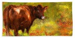 Red Devon Cattle - Red Devon Cattle In A Farm Scene- Cow Art Bath Towel