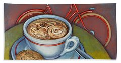 Red Dutch Bicycle With Cappuccino And Amaretti Bath Towel