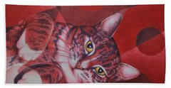 Red Feline Geometry Bath Towel by Pamela Clements