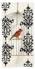 Red Finch Bath Towel