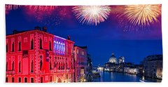 Red Fireworks In Venice Hand Towel