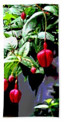 Red Flower Buds Hand Towel
