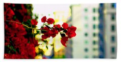 Red Flowers Downtown Bath Towel by Matt Harang