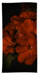 Bath Towel featuring the photograph Red Flowers In Evening Light by Lucinda Walter