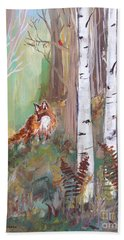 Red Fox And Cardinals Hand Towel