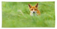 Red Fox In A Sea Of Green Bath Towel
