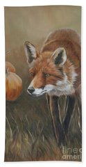 Red Fox With Pumpkins Hand Towel
