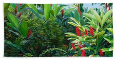 Tropical Jungle Landscape - Red Garden Hawaiian Torch Ginger Wall Art Hand Towel