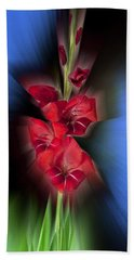 Hand Towel featuring the photograph Red Gladiola by Mark Greenberg