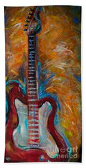 Hand Towel featuring the painting Red Guitar by Linda Olsen