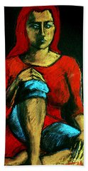 Red Hair Woman Hand Towel