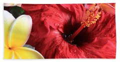 Red Hibiscus Bath Towel by Kristine Merc