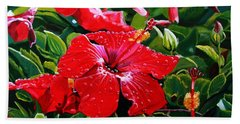 Red Hibiscus Bath Towel by Marionette Taboniar