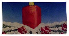 Red Holiday Candle Bath Towel by Darren Robinson