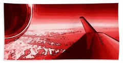Hand Towel featuring the photograph Red Jet Pop Art Plane by R Muirhead Art