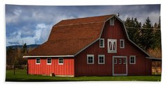 Hand Towel featuring the photograph Red Kirsop Barn by Jean OKeeffe Macro Abundance Art