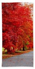 Red Leaf Road Bath Towel