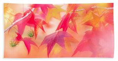 Red Leaves With Backlit, Autumn Bath Towel