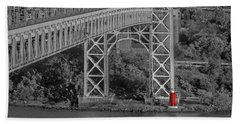 Red Lighthouse And Great Gray Bridge Bw Bath Towel