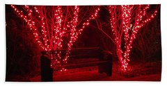 Red Lights And Bench Hand Towel by Rodney Lee Williams
