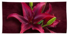Red Lilies Bath Towel by Jane McIlroy