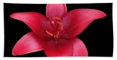 Hand Towel featuring the photograph Red Lily by Judy Whitton