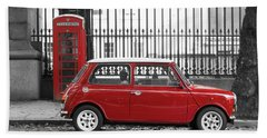 Red Mini Cooper In London Hand Towel