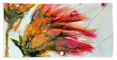 Red Orange Flowers Hand Towel