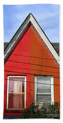 Bath Towel featuring the photograph Red-orange House by Nina Silver