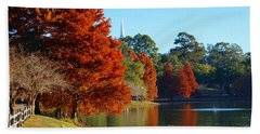 Red Pine On Lake Ella Hand Towel by Gail Kent