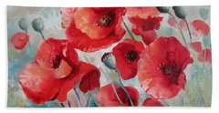 Hand Towel featuring the painting Red Poppies by Elena Oleniuc