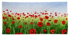 Red Poppies Green Field And A Blue Blue Sky Bath Towel