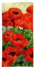 Red  Poppies In Shade Colorful Flowers Garden Art Hand Towel