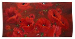 Red Poppies Bath Towel by Jenny Lee
