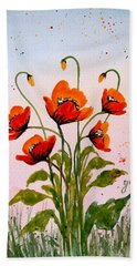 Red Poppies Original Watercolor  Bath Towel