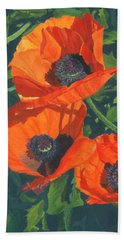 Hand Towel featuring the painting Red Poppies Three by Lynne Reichhart