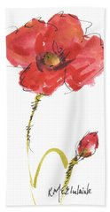 Red Poppy And Bud Bath Towel