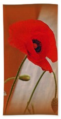 Red Poppy And Buds Bath Towel
