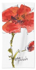 Red Poppy And Pal Bath Towel