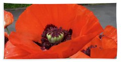 Hand Towel featuring the photograph Red Poppy by Barbara Griffin