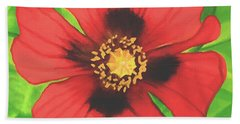 Hand Towel featuring the painting Red Poppy by Sophia Schmierer