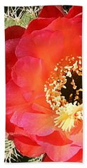 Red Prickly Pear Blossom Hand Towel by Ellen Henneke