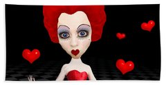 Red Queen Of Hearts Bath Towel