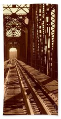 Hand Towel featuring the photograph Red River Train Bridge #2 by Robert ONeil