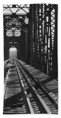 Hand Towel featuring the photograph Red River Train Bridge #3 by Robert ONeil