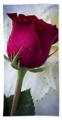 Red Rose And Kale Flower Bath Towel