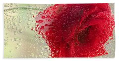 Red Rose In The Rain Hand Towel by Don Schwartz