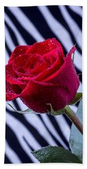 Red Rose With Stripes Bath Towel