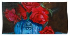 Hand Towel featuring the painting Red Roses And Blue Vase by Jenny Lee