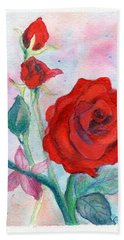 Red Roses Hand Towel by C Sitton